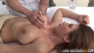 Ayda Swinger titty fucked in public