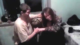 Drunken woman breast on camera