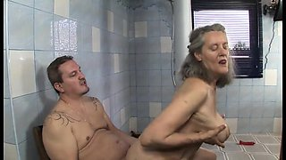Granners Her Son Within The Bathroom
