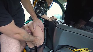 long legged brunette gets anally pounded in a fake taxi