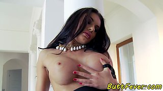 Busty beauty assfucked and sprayed with cum