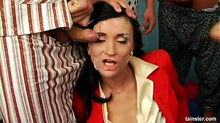 Balls-deep gangbang pounding for the horny cougar in red clothes