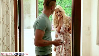 Slutty busty blond milf Brittany Andrews seduces handsome young neighbor