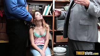 Shy teen thief punish fucked by cop in front of stepdad