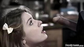 Nervous busty teen fucked in the kitchen by dads best friend