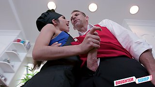 Group sex in the kitchen with adorable Gianna Gem and her girlfriend is memorable
