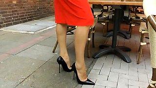 Elegant amateur lady in high heels flaunts her fabulous feet