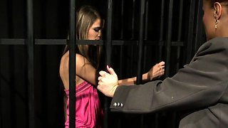 Restrained sub punished by ginger domina