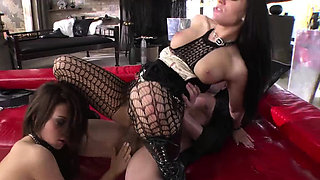 Two busty sluts throats and pussy rammed by one big dick