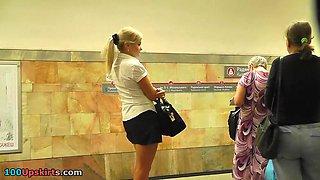 Secretary upskirt in subway