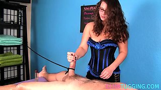 Domina masseuse wanking clients cock