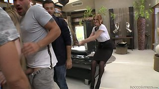 Kinky bitch Eva Berger and her assistant are fucked by several furious sex-hungry studs