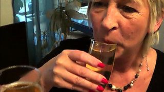 German mature milf champagner piss party with young step-son
