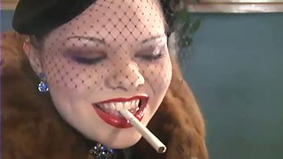 Miss cara leather gloved smoking fetish pov