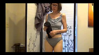 Mature milf forced to strip all at the office part two