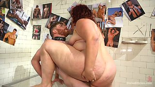 Fat chicks April Flores and her assistant with strapon fuck one kinky stud