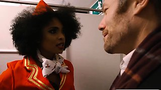 Ebony stewardess banged by pervert man in public toilet