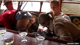 Tatiana Milovani and her elegant friend bend over for two cocks