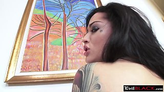 Lustful big black cock dude hired sexy brunette bar girl for strip dancing turns couch hard banging