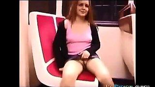 Train flashing no panties no bra