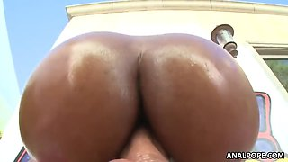 Oiled up black butt bouncing