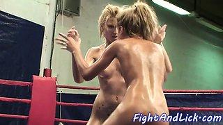 European beauties enjoy nude wrestling