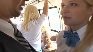 Blond gives BJ, receives screwed on bus