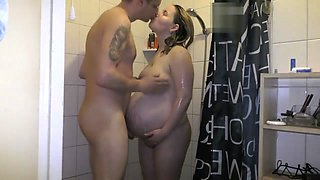38 weeks pregnant showering, sex and cumshot on tits
