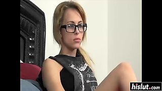 blonde with glasses gets nicely pounded