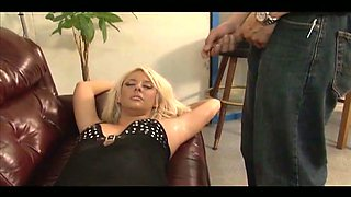 Kinky blonde mistress kicks her man in his balls