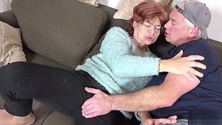 STEP SON SEDUCE UGLY HAIRY GRANDMA TO FUCK AND SWALLOW CUM