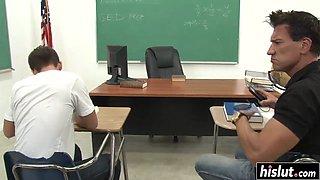 Brunette teacher gets fucked in the classroom