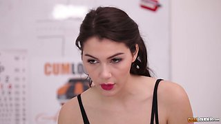 Stunning Italian babe Valentina Nappi gets her mouth and pussy blacked
