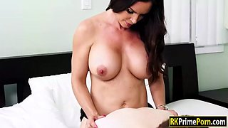 nina skye strapon fucked by her friends mom on the bed