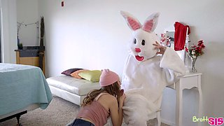 Pretty hot babes are fucked by step brother in funny Easter bunny costume