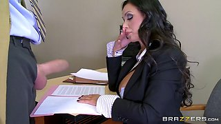 busty prosecutor nikki benz starts sucking danny's schlong in the courtroom